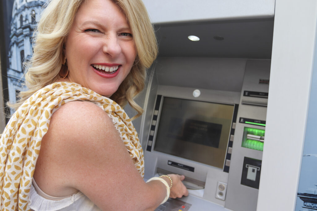 Fabienne Fredrickson at an ATM